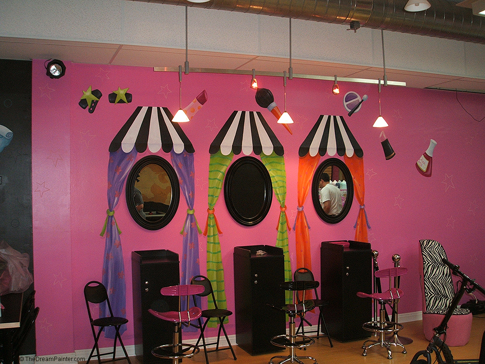 Girls' Boutique mural with make-up, nail polish, colorful awnings and curtains, and pink stars and closet