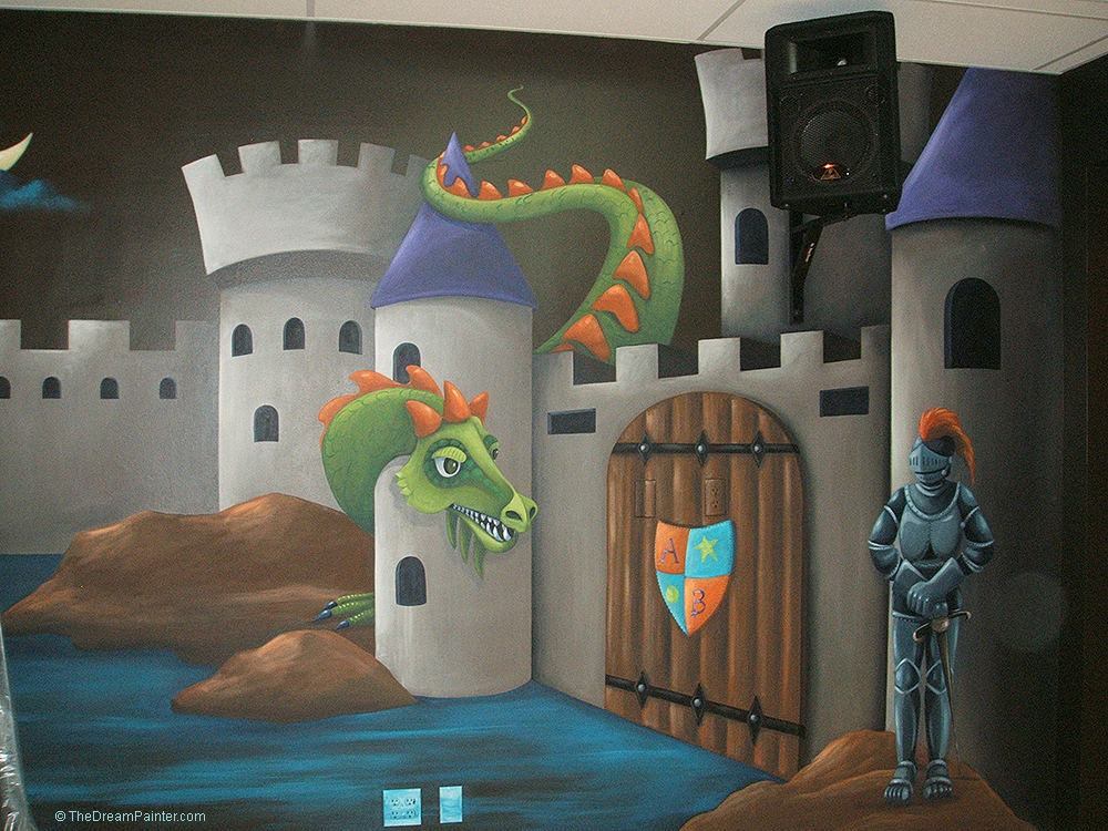 Castle and dragon mural with knight and shield