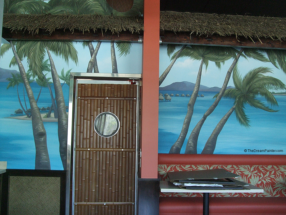 Tropical islands mural with ocean, palm trees, white sand beach and Tahiti water huts