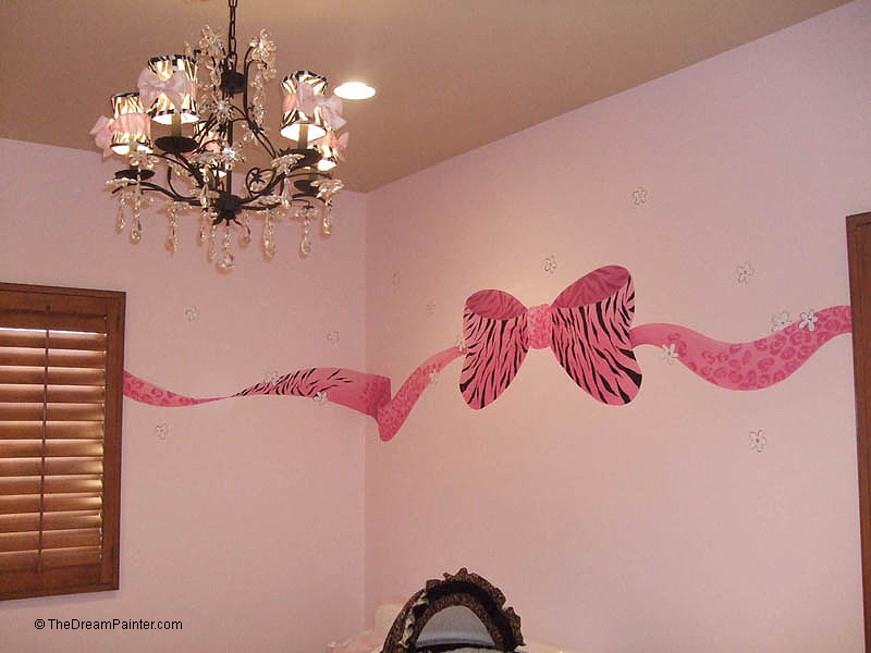 pink zebra and leopard bow with flowers and rhinestones mural, (baby girl nursery)